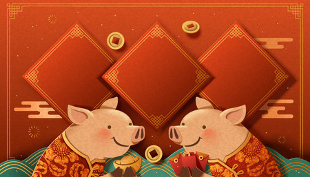 Lovely paper art piggy greeting each other on spring couplet background, Chinese new year banner