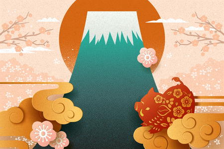 Japanese new year with paper art style boar and fuji mountain Standard-Bild - 112121696
