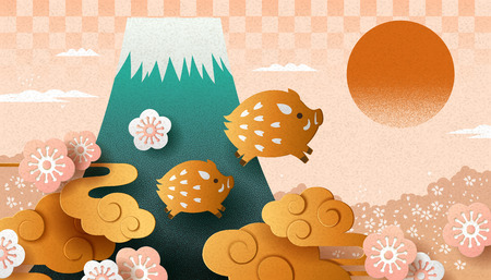 Japanese new year with paper art style boar and fuji mountain Ilustracja