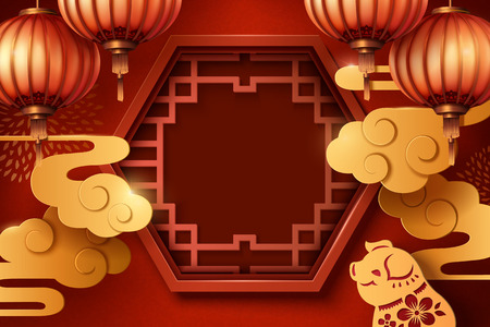 Lunar year poster template with Chinese window and paper lanterns Illusztráció