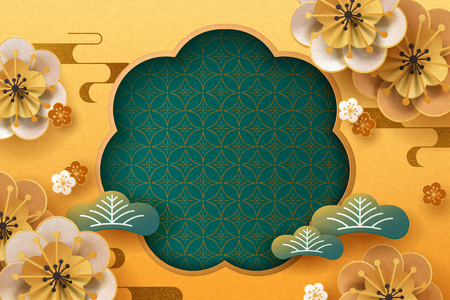 Paper plum flowers and pine leaves on golden background, copy space for greeting words Illusztráció