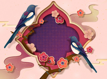 Chinese new year template with pica pica and plum flowers in paper art style, copy space for greeting words