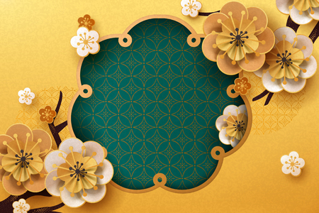 Paper plum flowers and twigs on golden background, copy space for greeting words Ilustracja