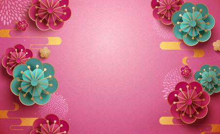 Papiertapete mit Pflaumenblüten in Fuchsia und Türkis Vektorgrafik