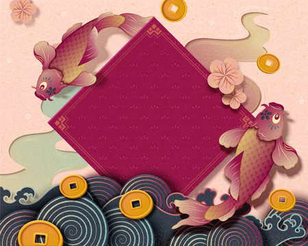 Chinese new year with koi carp and spring couplet decorations, paper art style background with golden coins and wave tides Illustration