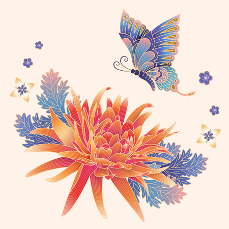 Elegant chrysanthemum and butterfly in gradient colors for design uses Stok Fotoğraf - 127175234