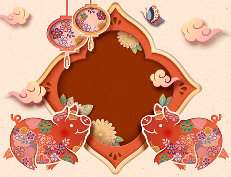 Cute paper art piggy with hanging lanterns, copy space for holiday greeting words Ilustração