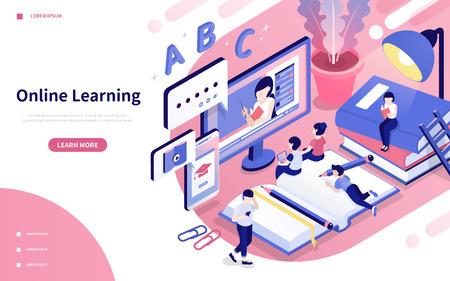 Illustrazione di stile isometrico 3d di apprendimento online in rosa e viola Vettoriali