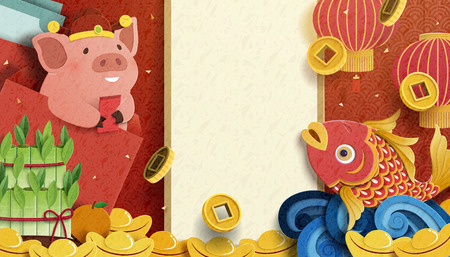 Lovely pig and fish new year paper art design with gold ingot and golden coin, copy space for greeting words Banco de Imagens - 113816300