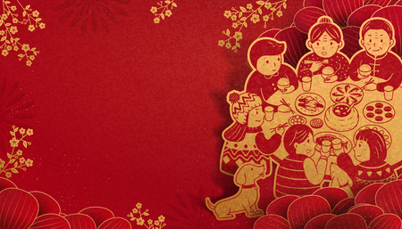 Heartwarming reunion dinner during lunar new year in paper art, red and golden color tone