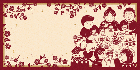 Conmovedora cena de reunión durante el estandarte del año nuevo lunar, tono de color beige y rojo