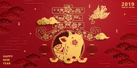 Lunar new year banner design with golden color piggy in spring word written in Chinese characters, red auspicious background Illustration