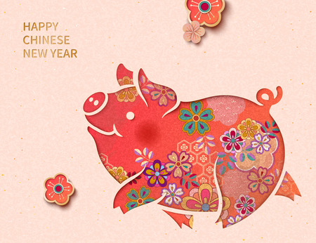 Happy Chinese New Year with lovely floral piggy on light pink background Ilustração