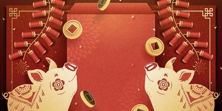 Striscione porcellino di capodanno lunare con busta rossa e decorazione di petardi, copia spazio per le parole di saluto