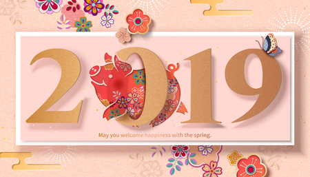 Lovely floral piggy jumps through number 2019 to celebrate new years coming, paper art style Ilustração