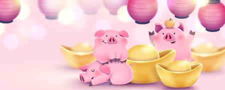 Belle bannière de cochon rose dessinée à la main avec des lingots d'or et des lanternes