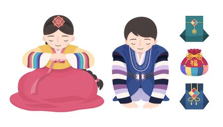 Diseño de bolsas de la fortuna y hanbok personalizado de año nuevo coreano sobre fondo blanco, gente haciendo el arco de año nuevo