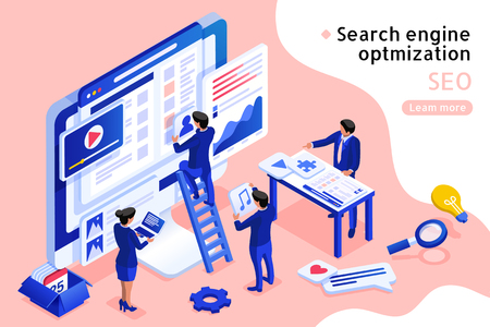 3d isometric projection SEO concept illustration in blue and pink