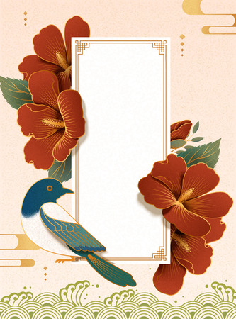 Elegant hibiscus and magpie in paper art background  イラスト・ベクター素材
