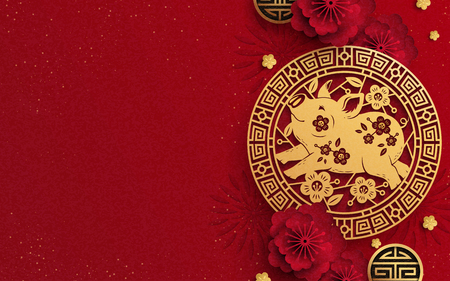 Happy Year Of The Pig design in paper art, golden piggy and peony flower decorations with copy space for greeting words