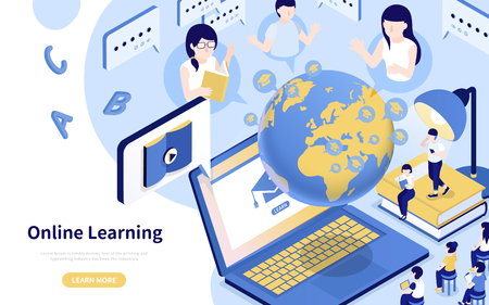 Online learning 3d isometric style illustration in blue and yellow