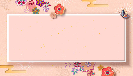 Elegant floral banner in paper art style with copy space Stock Illustratie