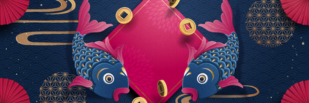 Lunar new year fish and spring couplet banner design in fuchsia and dark blue Иллюстрация