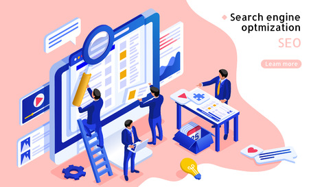 3d isometric projection SEO concept illustration in blue and pink 일러스트