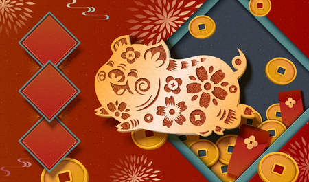 Spring festival banner design with golden paper cut piggy, lucky coins and red envelope decorations
