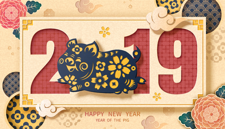 Happy New Year with piggy and peony in paper art style