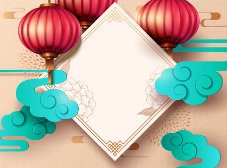 Lunar year design with spring couplet and hanging lantern in paper art, copy space for greeting words Ilustração