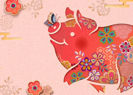 Lovely floral piggy on light pink background with butterfly and flowers
