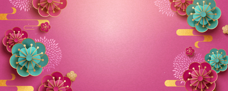 Paper art flower banner design with fuchsia color background Ilustração