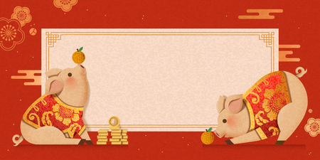 Cute piggy wearing traditional costumes new year banner design  イラスト・ベクター素材