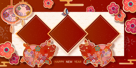 Spring festival banner design with lovely floral piggy, blank spring couplet for greeting words