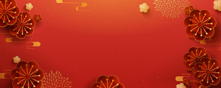 Paper art flower banner design with red color background Stock Illustratie