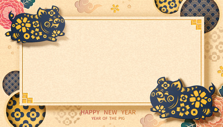 Happy New Year banner with piggy and floral elements in paper art style, copy space for greeting words Illustration