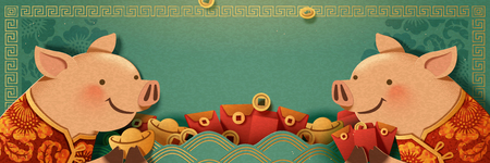 Cute piggy holding gold ingot and red envelope banner design, blank turquoise background