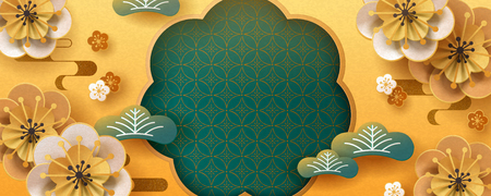 Paper art flower banner design with gold and turquoise color