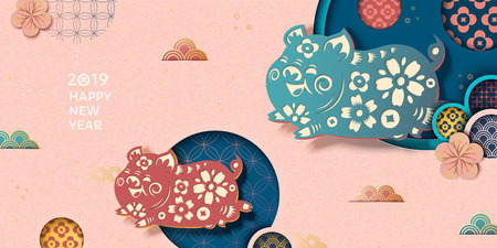 Happy Chinese new year banner in pink with flying piggy and floral pattern in paper art style