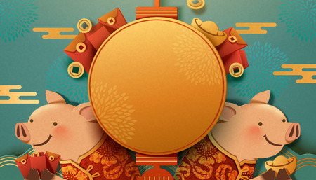 Cute piggy holding gold ingot and red envelope on turquoise background, blank lantern for greeting use