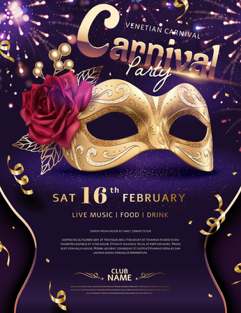 Venice Carnival poster with luxury golden mask and firework effect, 3d illustration