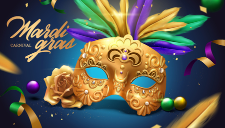 Mardi gras carnival design with golden mask and feathers in 3d illustration