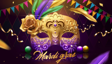 Diseño de mardi gras con máscara dorada, banderas de colores y decoración de plumas sobre fondo de rombo púrpura, ilustración 3d