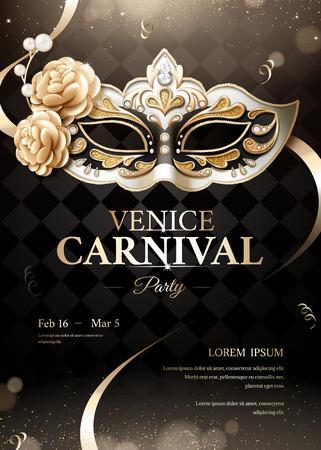 Cartel de fiesta de carnaval de Venecia con máscara suntuosa sobre fondo negro bokeh en ilustración 3d Ilustración de vector