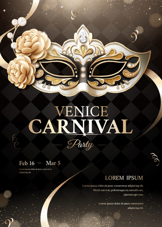 Venice carnival party poster with sumptuous mask on black bokeh background in 3d illustration Illustration