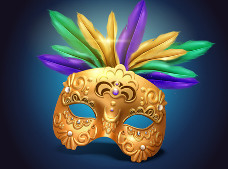 Mardi gras exquisite golden mask design with colorful feathers in 3d illustration Illustration