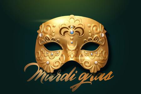 Mardi gras exquisite golden mask design in 3d illustration Illustration