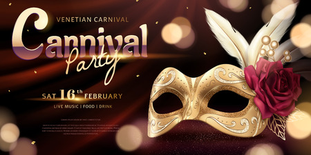Venice Carnival party banner with luxury golden mask and feather on bokeh background, 3d illustration