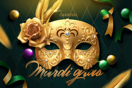 Mardi gras design with golden mask and flying streamers on green rhombus background, 3d illustration Illustration